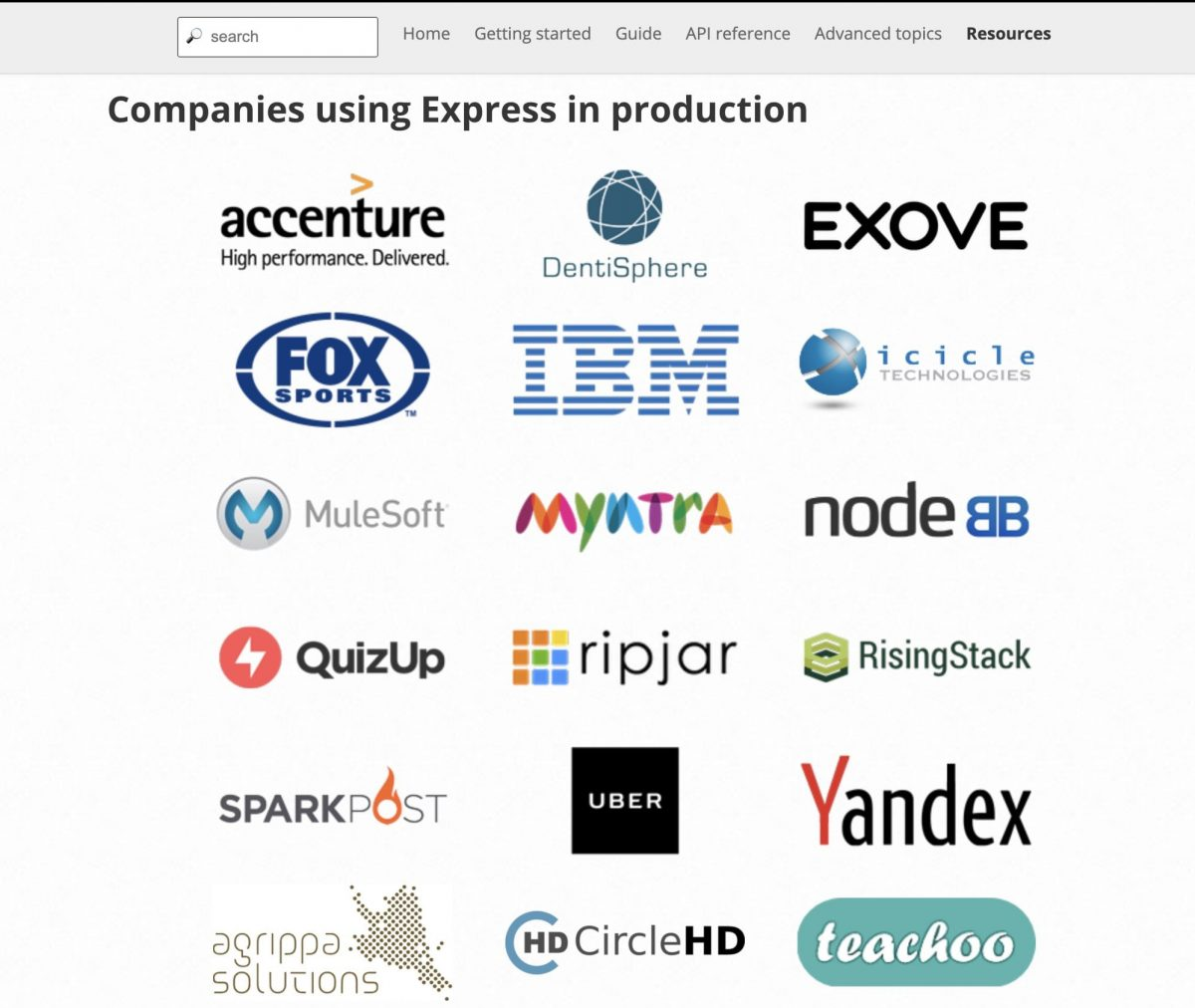 Some of the top companies in the world use Express.js for their enterprise app development.