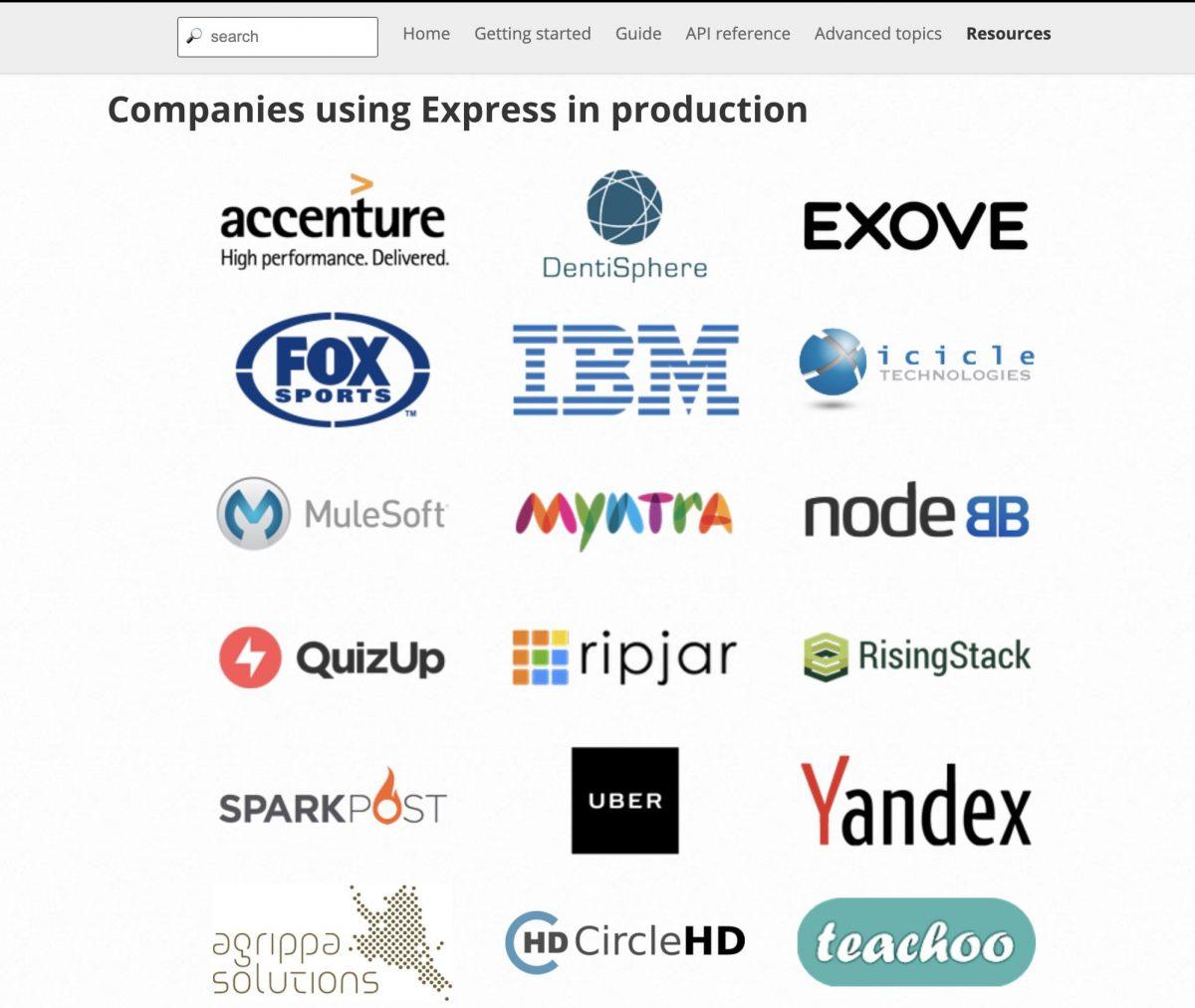 Certaines des plus grandes entreprises du monde utilisent Express.js pour le développement de leurs applications d'entreprise.