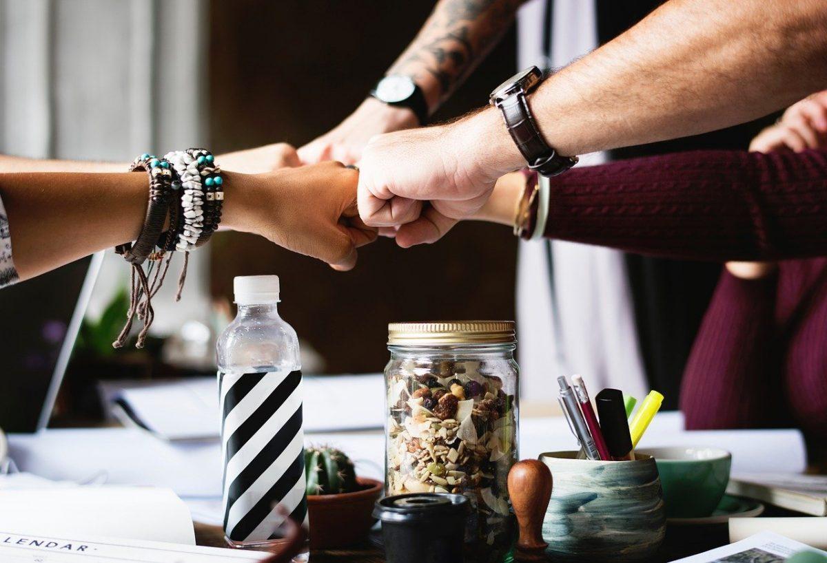 Enterprise app development team hand fist in solidarity.