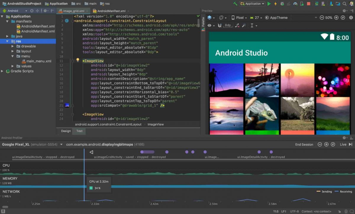 The user interface of Android Studio, a tool in Android native app mobile development.