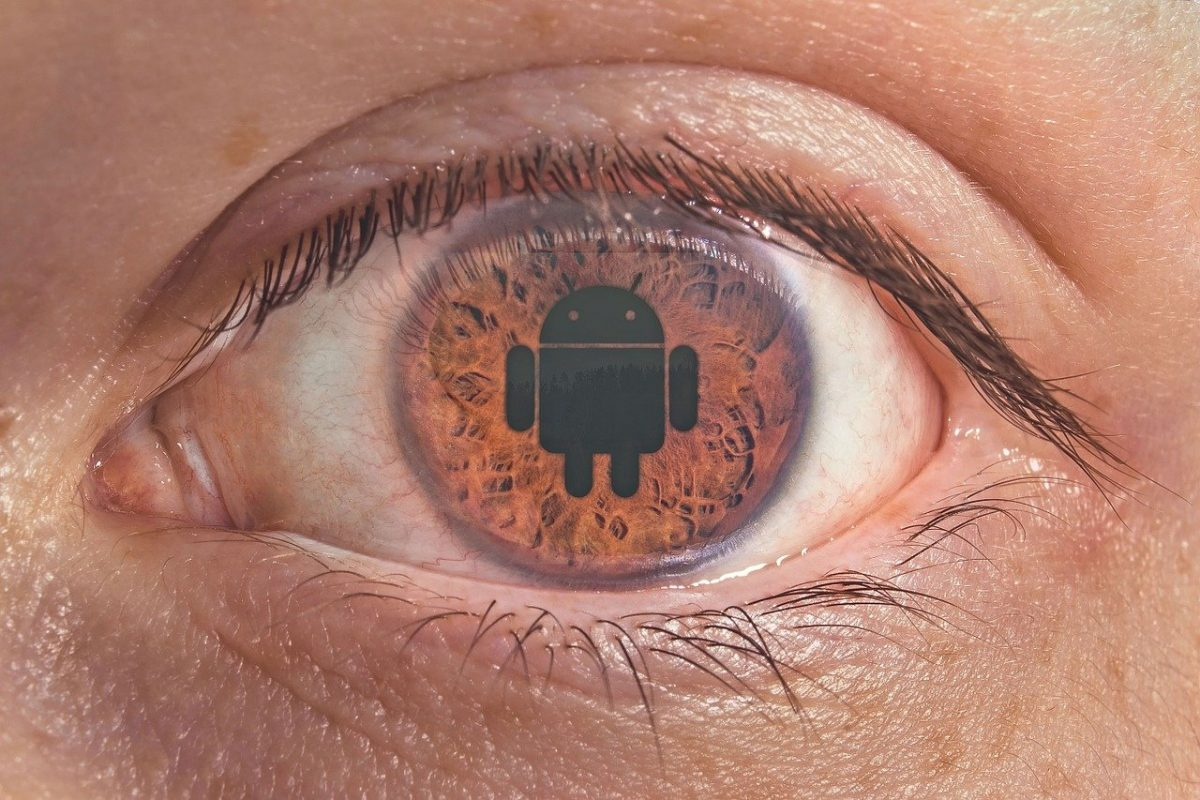 Android logo in the middle of the left eye.